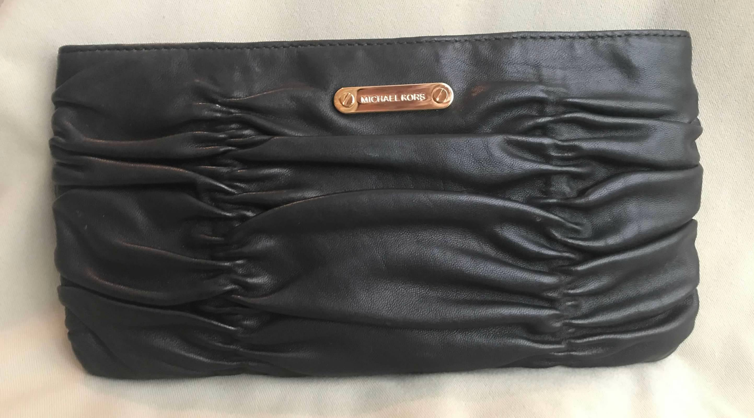 4dae5d378223 Details about NEW MICHAEL KORS Black 100% Leather WEBSTER Classic Clutch  Vintage Style Bag