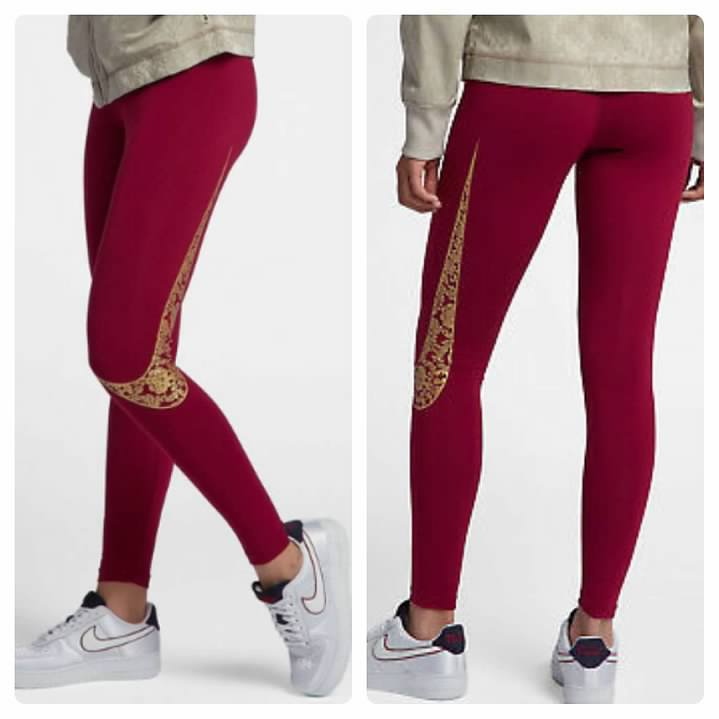 pretty nice sale usa online attractivefashion Details about NEW NIKE Women's LEG A SEE Red & Metallic Gold FLORAL Legging  Leggings MEDIUM M