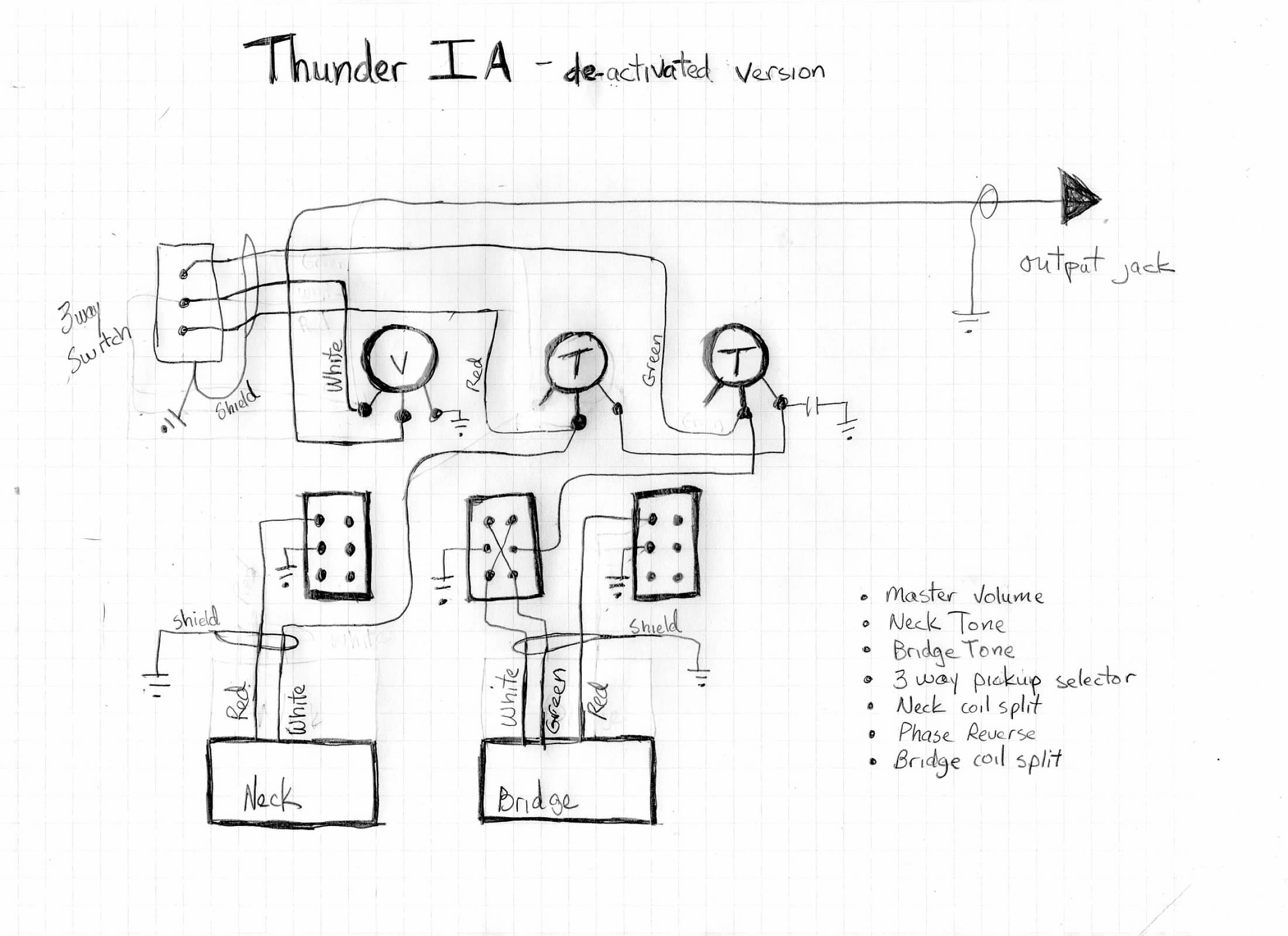 thunder - Westone Thunder II passive wire diagram, switch type and number Enhance