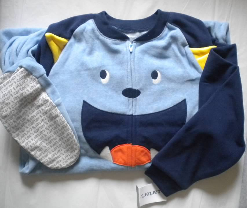 dae179893 NWT Carters Boys Size 12 Fleece Footed Feety Feet Pajamas Monster ...