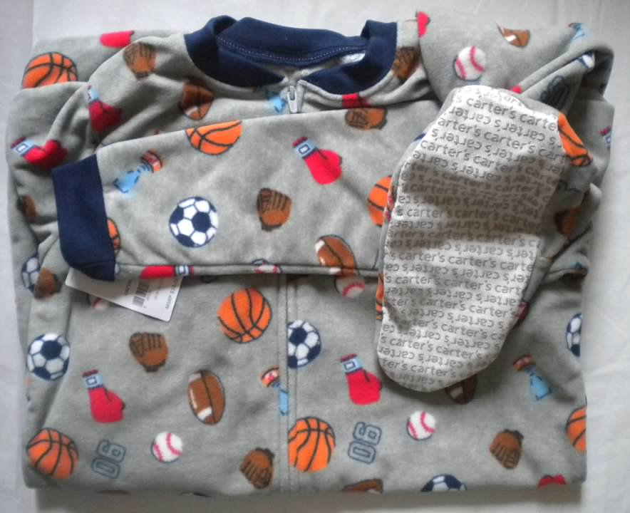 bb1c76634 NWT Carters Boys Size 12 Fleece Footed Feety Feet Pajamas Sports ...