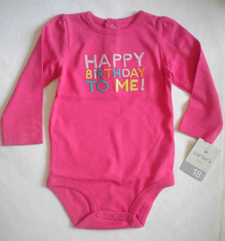 Carter/'s Carters Girls Size 9 Months My First Birthday Navy Shirt Top NWT