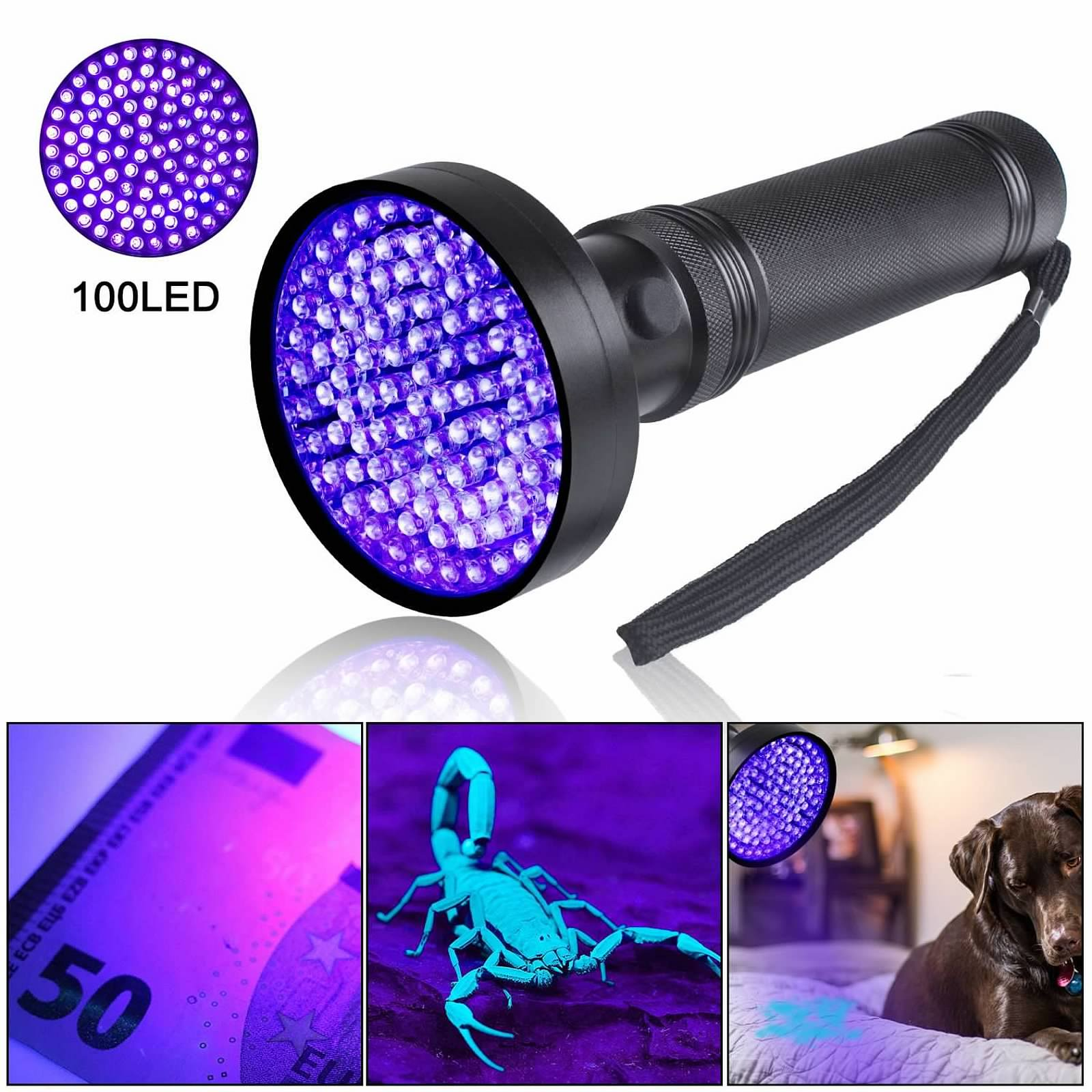 100led Uv Flashlight Black Light Ultra Violet Detector Pet